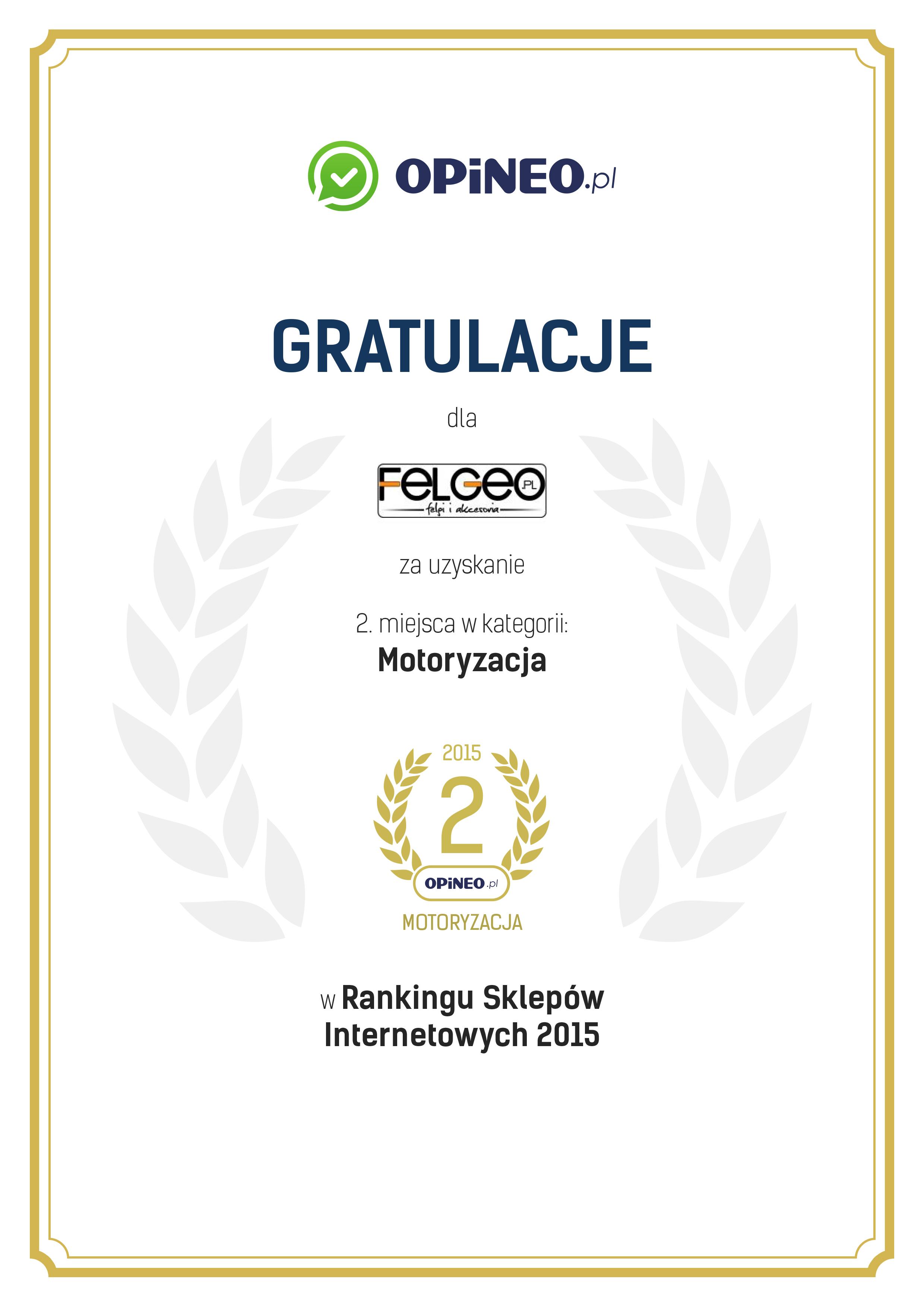 Nagroda 2 miejsce Opineo.pl